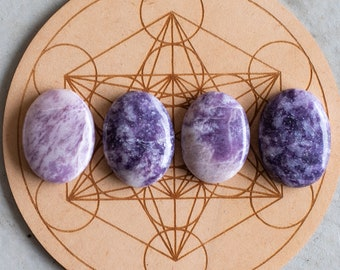 One Lepidolite Worry Stone, Crystal Thumb Stone, Purple and White Gemstones, Natural Genuine Stone Carving