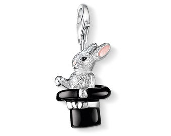 Sterling Silver 3D Magic Rabbit In Hat Trick Charm