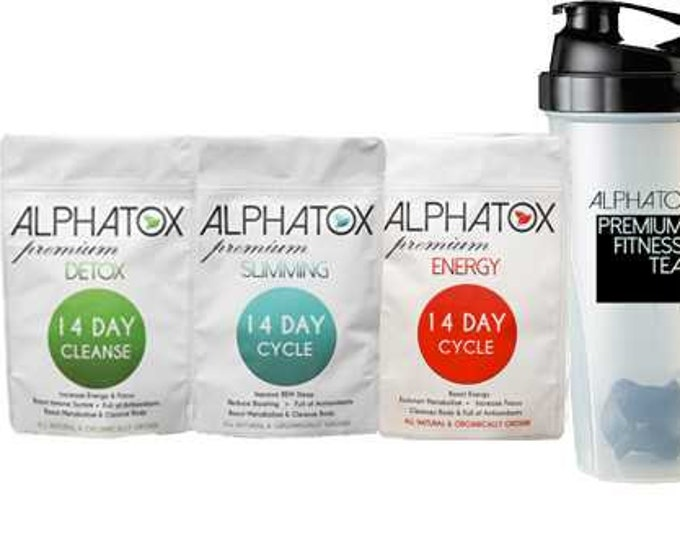 Alphatox Fitness Bundle (14 Day) Detox Slimming Energy Tea Best Weight Loss Combo Belly Fat Burner & Flat Tummy Tea Women Kit To Lose Weight