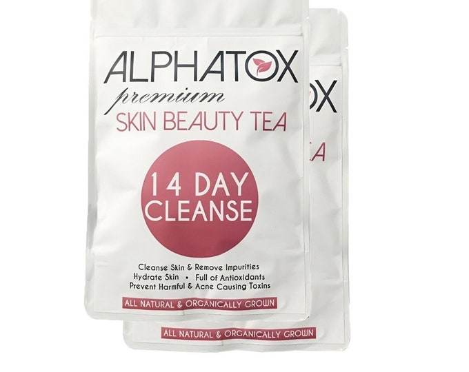 Alphatox Skin Cleanse Tea (28 Day Supply) Cellulite Relief, Skin Cafe, Best 5YRS!, Stretch Marks Post Partum, Weight Loss, 13+ Super Foods
