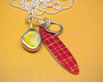 Yellow sea glass and red silver cluster necklace