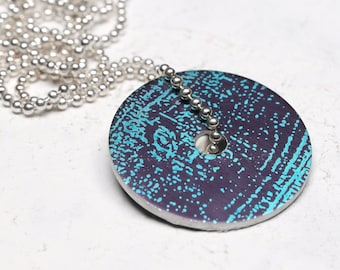 Aubergine purple and turquoise disc pendant necklace – small