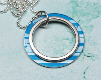 Blue and silver 2 hoop necklace