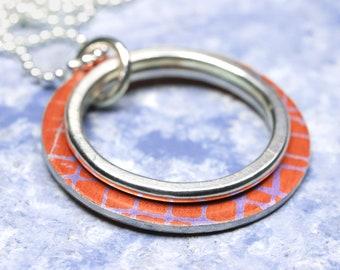 Orange purple and silver 2 hoop necklace
