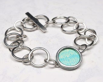 Teal turquoise and green silver chain bracelet