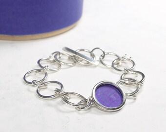 Purple silver chain bracelet