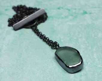 Sea foam blue sea glass oxidised silver necklace