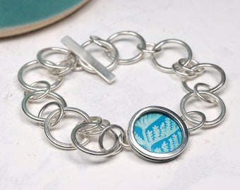 Turquoise leaf silver chain bracelet