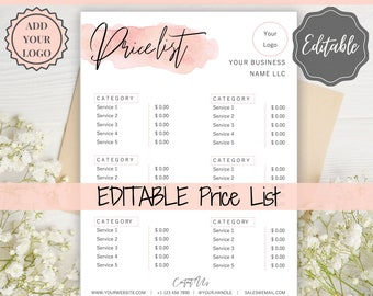 Price List Template Etsy