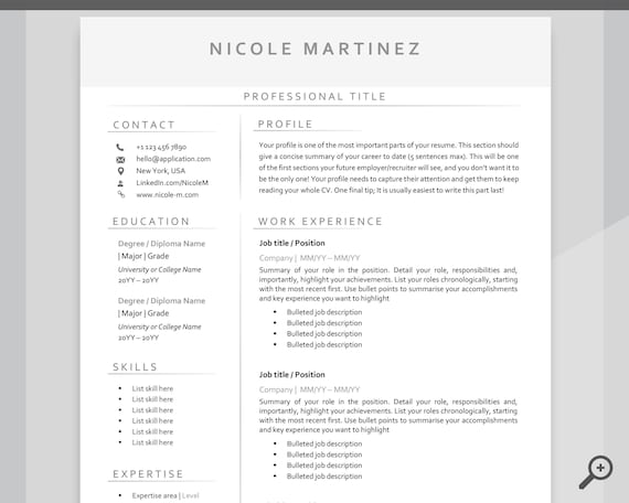 Professional Resume Template Curriculum Vitae Resume Template Bundle Minimalist Executive CV template free RESUME TEMPLATE Word