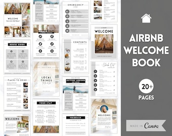 Airbnb Welcome Book Template, Editable Canva Welcome Guide, Air bnb House manual, Superhost eBook, Host signs, Signage, VRBO Vacation Rental