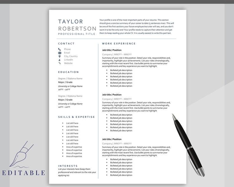 Minimalist Executive CV template free RESUME TEMPLATE Word Professional Resume Template Curriculum Vitae Resume Template Bundle