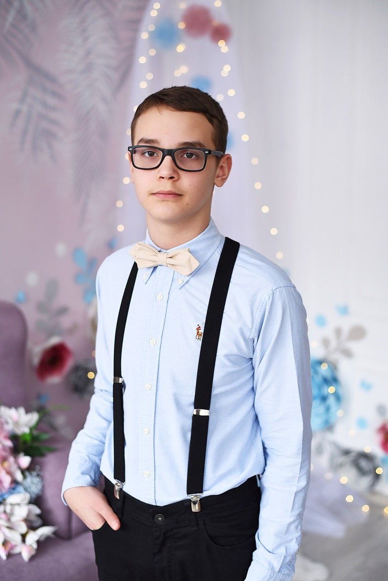 Ring bearer bow tie Suspenders set Boys suspenders and bow tie outfit