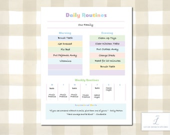 Kids Daily Routine & Chore Planner Printable