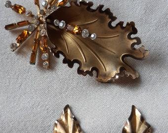 Vintage Mid Century Modernist GOLD FILLED Bond Boyd Brooch~Matching Earrings Demi Parure Set
