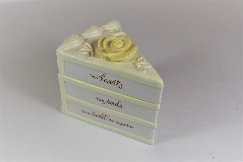 Yellow and White Vintage Hallmark Wedding Cake Slice Porcelain Trinket Box