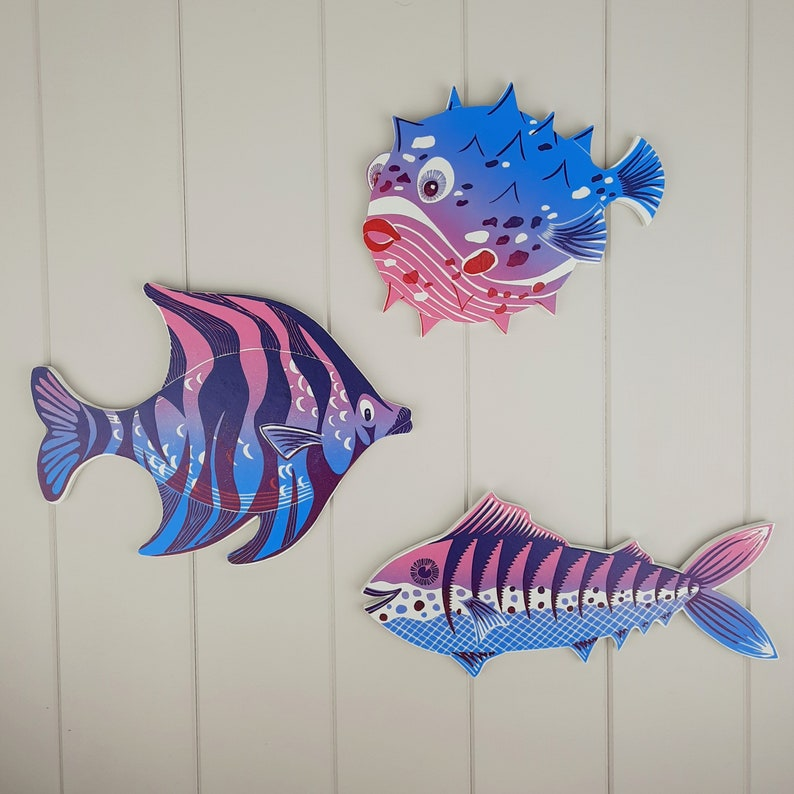 Angel fish wall art linocut print mounted onto wood