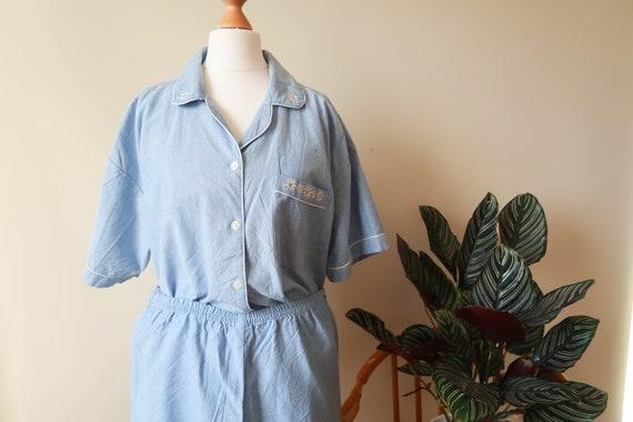 Plus Size Flower Pajama Set ; Embroidered Night Se