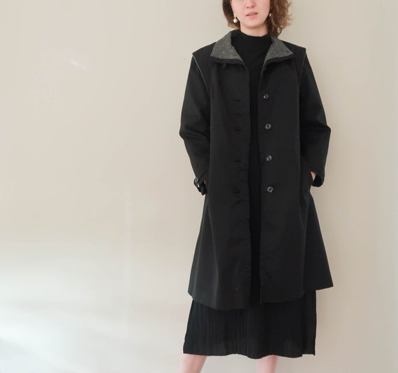 Vintage London Fog Coat ; 70s Black Rain Coat