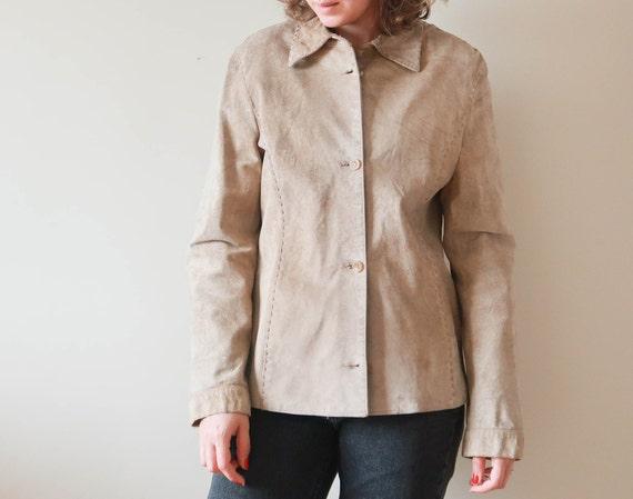 Vintage Suede Leather Jacket ; Vintage Beige Leat… - image 5