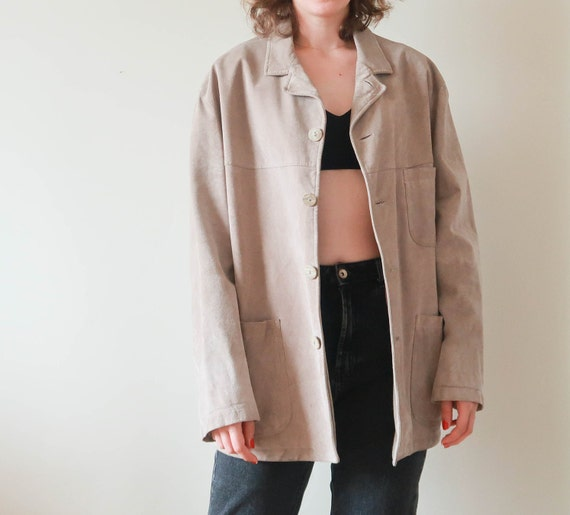 Vintage Suede Coat Women ; Minimal Fall Jacket ; T