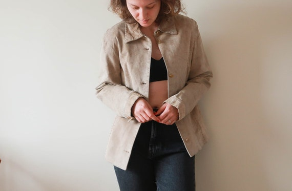 Vintage Suede Leather Jacket ; Vintage Beige Leat… - image 4