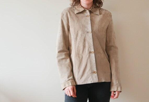 Vintage Suede Leather Jacket ; Vintage Beige Leath