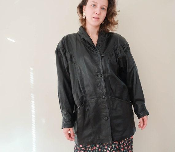 Vintage 80s Leather Coat ; Vintage Black Leather J