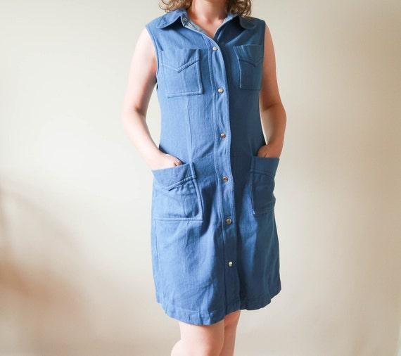70s Cotton Dress ; Jean Dress Dog Ear Collared
