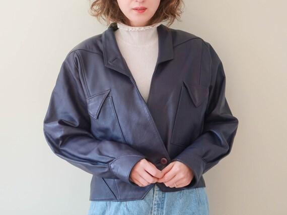 Vintage Crop Leather Jacket ; Purple Leather Jacke