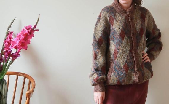 Vintage Long Knit Cardigan; Oversized Brown Cardig