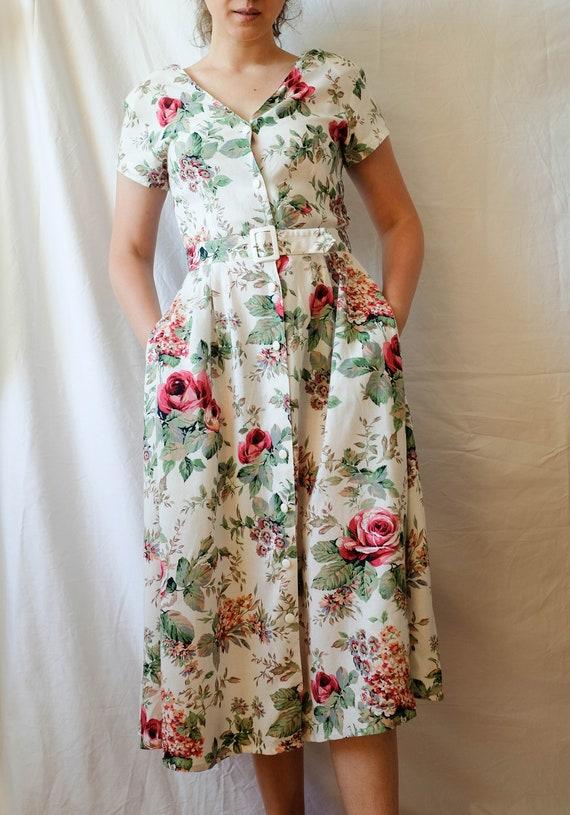 Cottagecore Dress; Vintage Midi Dress - image 4