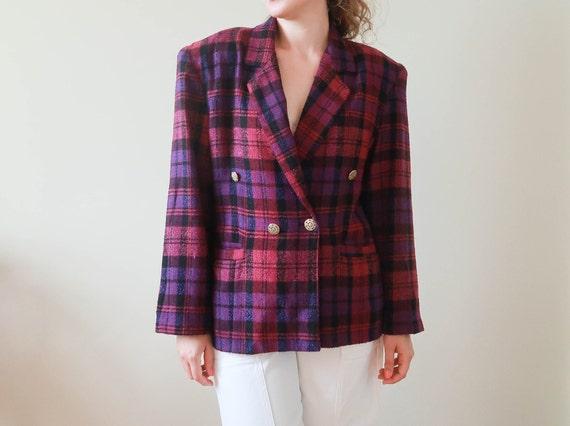 80s Tartan Jacket Purple; Vintage Fall Jacket ; 80