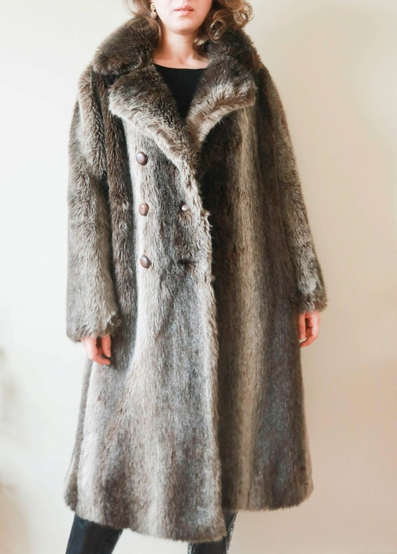 Vintage Brown Fake Fur Coat ; Faux Fur Winter Coat