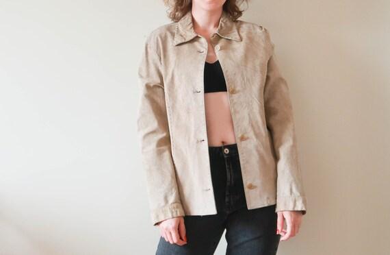 Vintage Suede Leather Jacket ; Vintage Beige Leat… - image 7