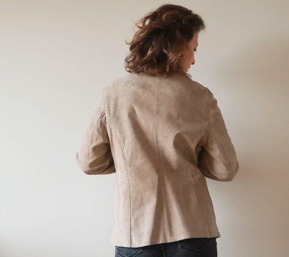 Vintage Suede Leather Jacket ; Vintage Beige Leat… - image 6