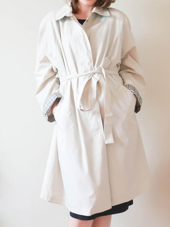 Vintage Beige Trench Coat ; 1970s Cream Rain Coat