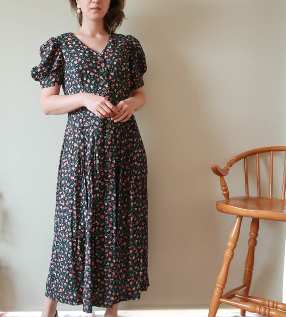 Black Midi Dress; Vintage Floral Midi Dress; Ditsy