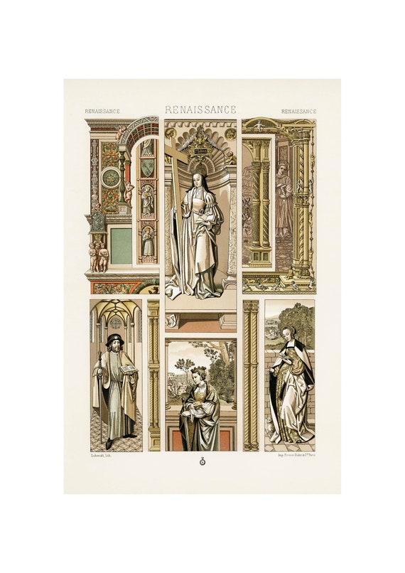 1888 by Albert Racinet Lithograph Vintage Art Print A4A3 FramedUnframed Renaissance Pattern From L/'ornement Polychrome