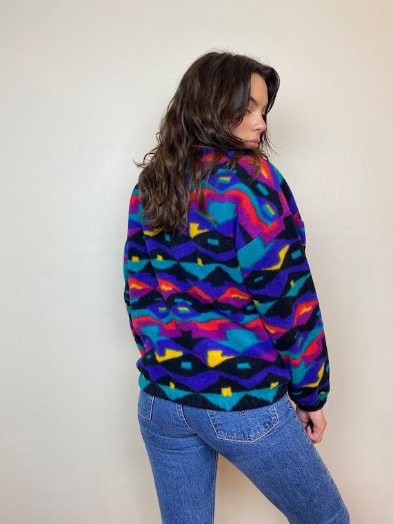 Danksin Pro 1980s Printed Fleece Zip Up Jacket - image 5