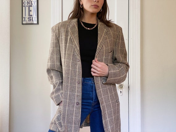 Redwood Plaid Wool Oversized Boyfriend Blazer