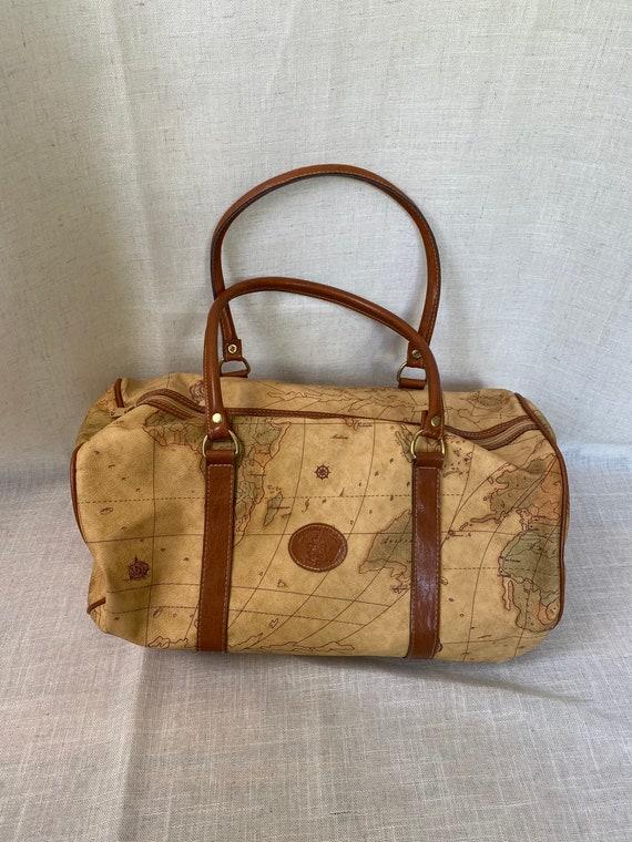 Tan / Beige World Map Print Bag