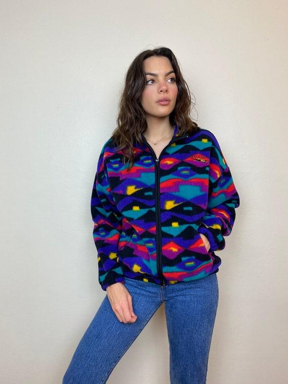 Danksin Pro 1980s Printed Fleece Zip Up Jacket - image 2