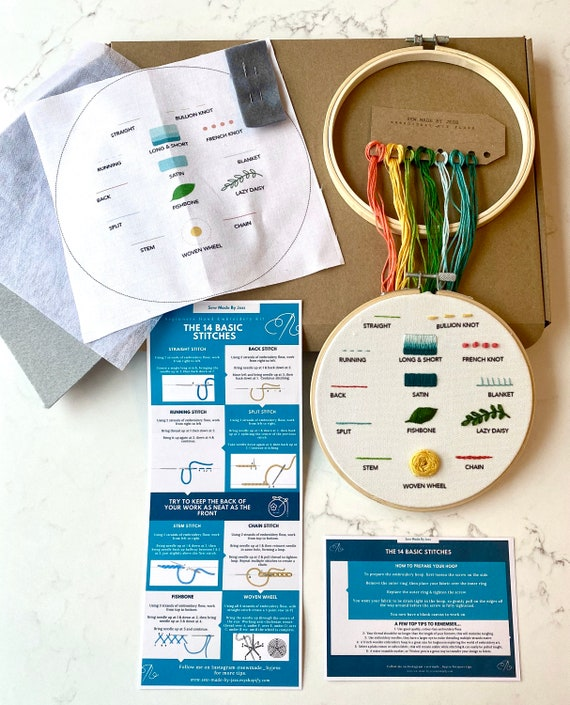 Beginners Embroidery Hoop Kit, Learn 14 Hand Embroidery Stitches