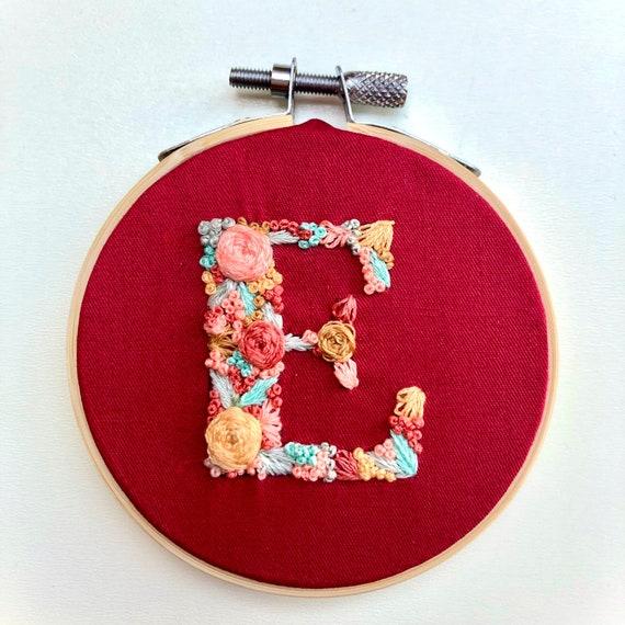 "Handmade, Monogram, 5"" Embroidery Hoop Art, Wall Hanging, Personalised Letter, Custom Gift, Multicoloured"