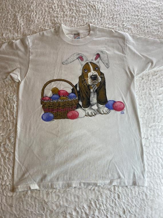 Vintage 1990s Basset Hound Easter T-shirt