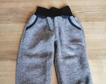 Walk pants, woolwalk, grey, with pockets, virgin wool, mulesing-free