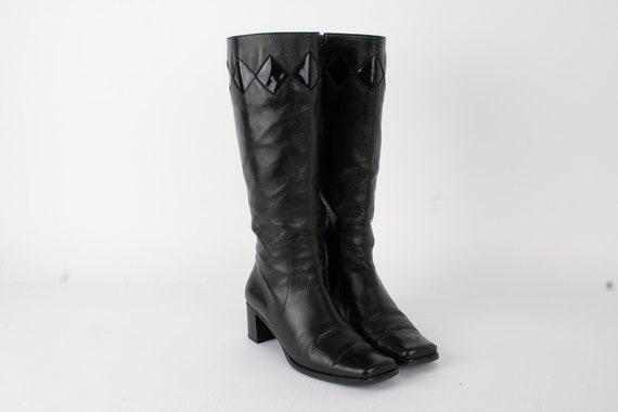 US7.5 Womens Black Leather Mid Calf Boots / 90s Bl