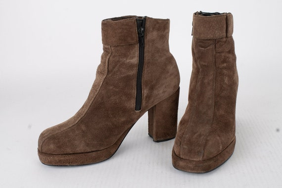 US9.5 Platform Leather Womens Boots / 60s 70s Boot