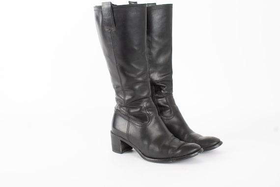 US6 Black  Womens Boots / Italian Leather / Vintag